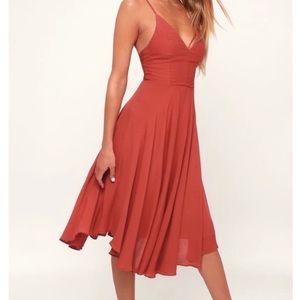 Lulu's Trulous Rust Red Lace Up Midi Dress